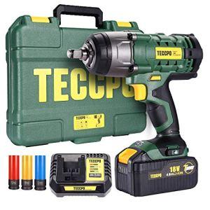 Clé à chocs sans fil, TECCPO 350Nm Visseuse à Chocs avec 4.0Ah Batterie, 3 Douilles à Chocs pour Jantes Aluminium-17, 19, 21mm, 13mm Mandrin, Boîte Compacte – TDIW01P