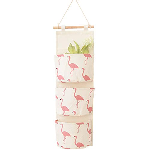 LaVibe Au-Dessus des Poches de Rangement de Porte Le Sac de Rangement Durable Mural de Mode de Modèle de Flamingo, Sacs de Rangement Suspendus avec 3 Poches