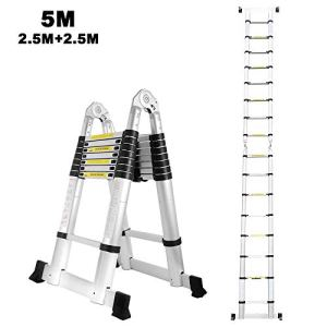 2,5M + 2,5M Echelle télescopique en aluminium 5M double face échelle télescopique échelle pliante échelle polyvalente échelle échelle 150 kg capacité de charge