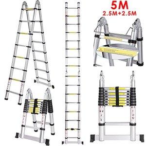 COOCHEER Échelle Télescopique 5m Escabeau Télescopique En Aluminium 16 Echelons, Charge max 150 kg