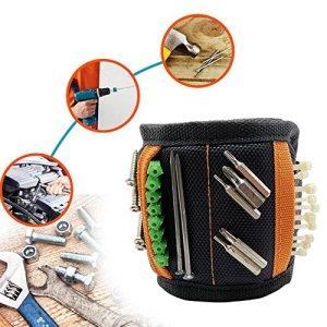 magnétique Bracelet, Kobwa Bracelet magnétique avec 10aimants puissants, réglable Bracelet magnétique pour tenir des outils, vis, clous, outil de chevilles, cadeau pour hommes DIY Artisan