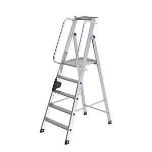 Escabeau en aluminium avec marche supérieure grand format – main courante, des deux côtés 5 marches, plate-forme comprise – plate-forme mobile échelle aluminium échelles aluminium Echelle en aluminium Echelles en alu Escabeau en alu Escabeau à marches