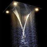 Gowe? Luxe Intégré au plafond Ensemble de douche télécommande Changement de couleur poli 600* 800mm Multi Fonction LED Ensemble de douche