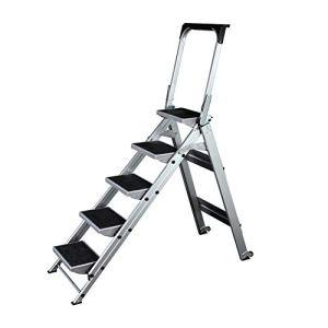 Vobajf Échelles Doubles 4/5 Étape Aluminium Echelle Pliante Ladder Anti-Slip Portable escabeau Home Office escabeaux (Couleur : Silver, Size : 5step)