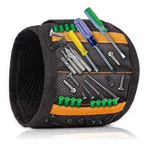 Bracelet magnétique avec 15 aimants puissants pour tenir des vis, des clous, des forets – Meilleur organisateur d'outils et cadeau pour homme, bricoleur, papa, mari, petit ami, femme
