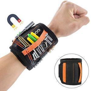 CNXUS Bracelet Magnétique Réglable avec 20 Puissants Aimants en néodyme pour tenir les outils, les vis de maintien, clous, Boulons, trépans de forage, Cadeau Homme Original