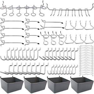 FRIMOONY Porte-outils de Crochets pour Panneaux Perforés avec Bacs, Verrous à Chevilles, pour Organiser Divers Outils, 80 pièces