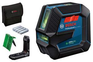 Bosch Professional Niveau Laser GLL2-15G (faisceau vert, d'intérieur, support LB10, portée visible: jusqu'à 15m, 4xpiles AA)