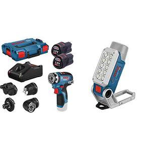 Bosch Professional 06019H3000 Perceuse-Visseuse sans Fil GSR 12V-35 FC, avec 2 batteries, Set Daccessoires, L-Boxx, Bleu & 12V System Lampe LED sans-fil GLI 12V-330 (330 Lumen, 180 min/Ah) Bleu