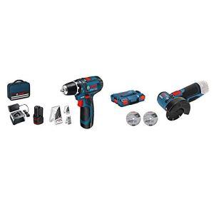 Bosch Professional 0.615.990.GB0 GSR 12V-15 12V System Perceuse-visseuse sans Fil, Bleu & 06019F2003 12V System Meuleuse Angulaire sans-fil GWS 12V-76 (3 Disques à Tronçonner, 76 mm, Bleu