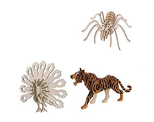 Yuhualiyi123 3 Set-Spider, Tiger, Puzzle Peacock, Woodcraft Modelisme en Bois Puzzle en Bois 3D Kits, Bricolage Creative Assembly Toy (Color : Animal)