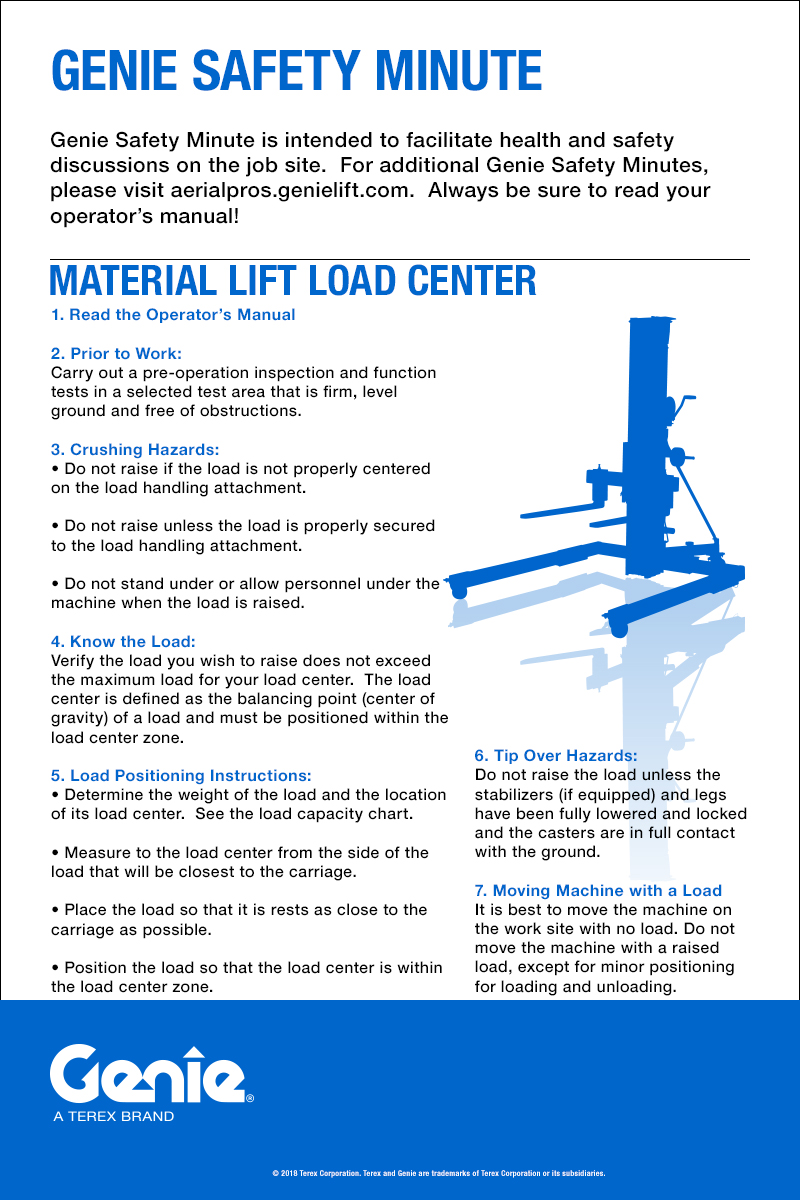 hight resolution of material lift load center