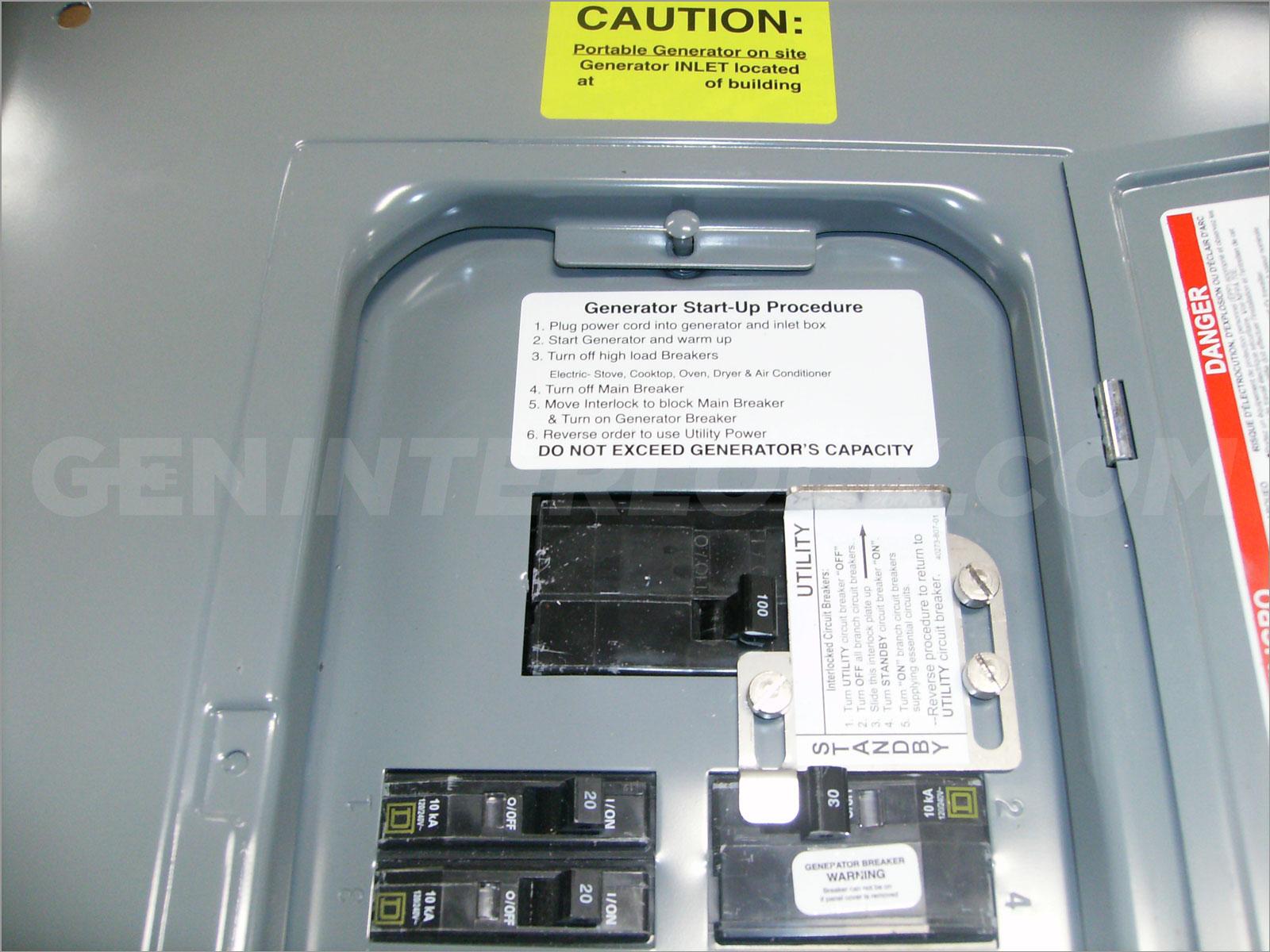 100 Transfer Switch Wiring Diagram Oem Model Generator Interlock Kit Square D Qo 100 A Indoor