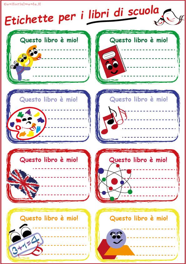Etichette per la scuola da scaricare – libri