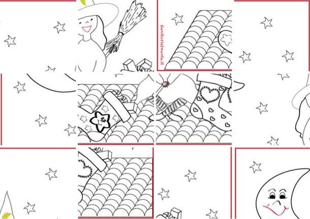 Schede didattiche per i piccoli: ritaglia i pezzi del puzzle della befana | Genitorialmente