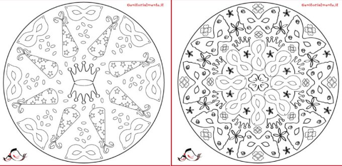 Mandala di carnevale da stampare e colorare | Genitorialmente