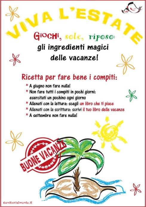 Copertina per i compiti delle vacanze estive | Genitorialmente