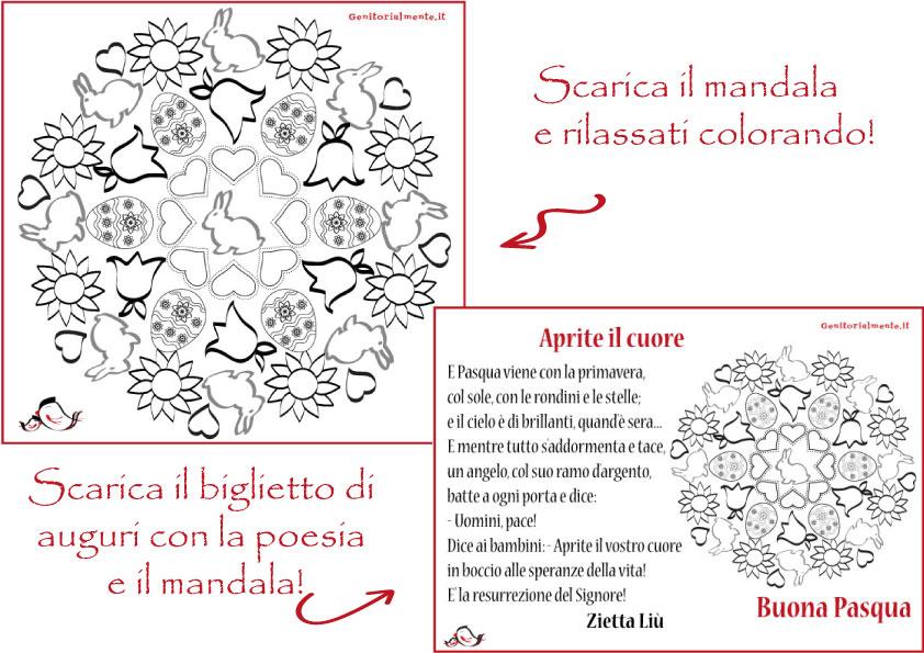 Mandala e poesia di pasqua da stampare genitorialmente for Poesia di pasqua per bambini
