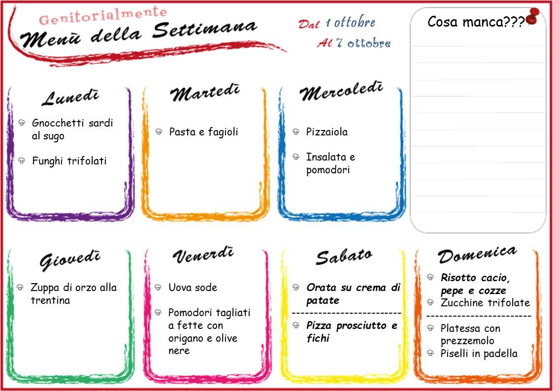 Organizzare Il Menu Della Settimana menù settimanale di ottobre dal 1 al 7   genitorialmente
