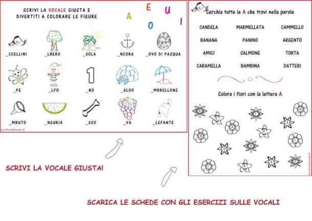 Completa con la vocale giusta e colora: schede italiano | Genitorialmente