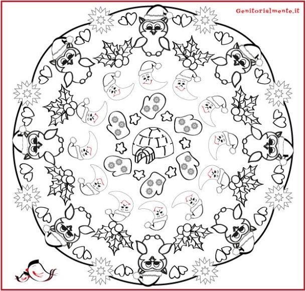 Mandala d'inverno da colorare e poesia per bambini | Genitorialmente