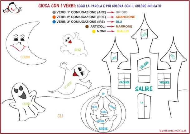 Schede sui verbi scuola primaria - impara giocando | Genitorialmente