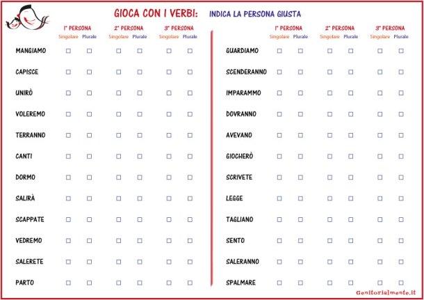 Schede sui verbi scuola primaria - scarica e stampa | Genitorialmente