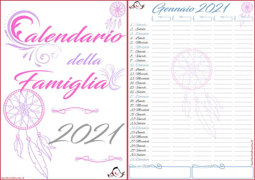 Calendario della famiglia 2021 PDF da scaricare e stampare