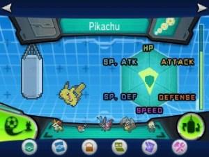 Um Pikachu sendo treinado em Atk,SpAtk,HP e Speed.