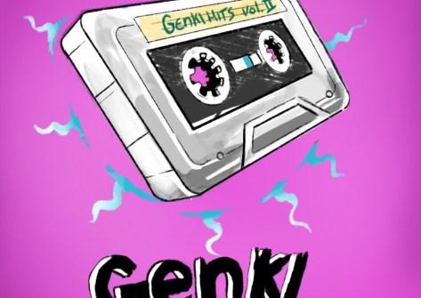 Imagem mostra uma fita cassete com raios azuis contornando. Contém o texto: Genki Hits volume 2.