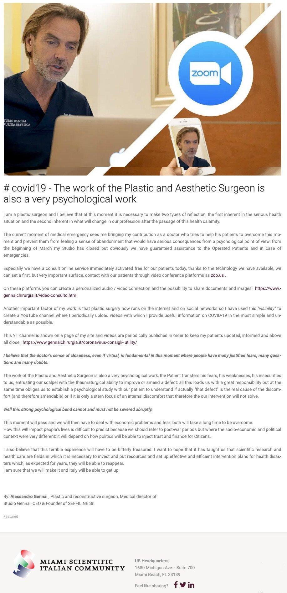 il lavoro del Chirurgo Plastico ed Estetico è un lavoro anche molto psicologico cover