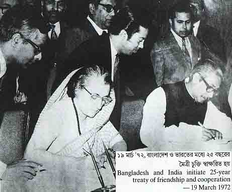 Mujib and Indira siging 25 year friendship treaty
