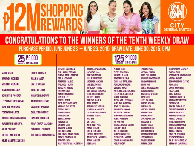 sm city 10th weekly winners