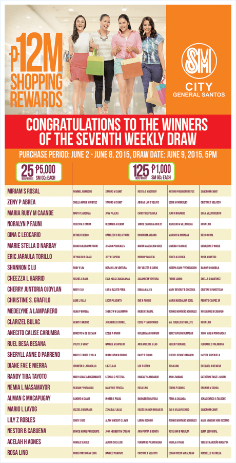SM City Gensan, 7th Weekly Draw Winners