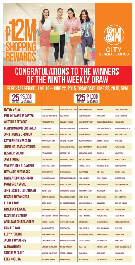 sm gensan, 9th weekly winners