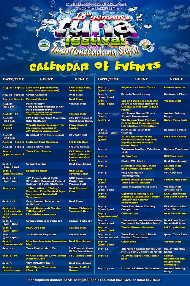 Gensan's Tuna Festival 2016 Schedule of Activities