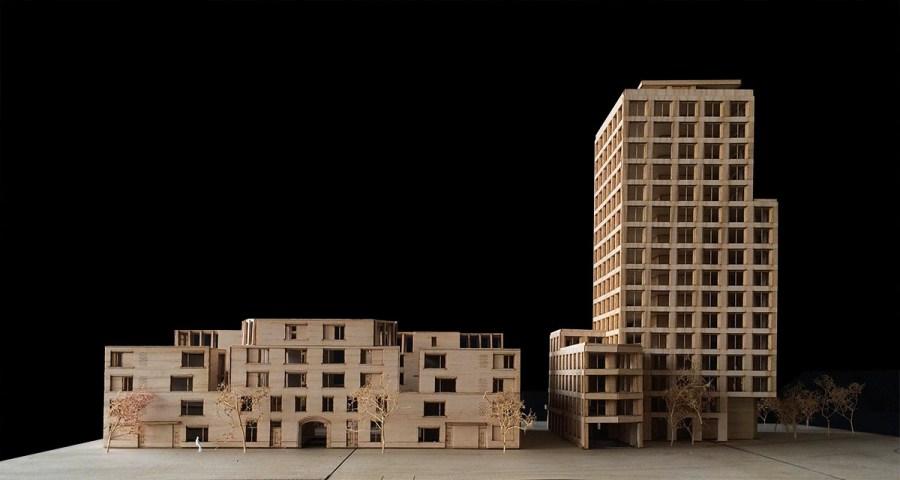 Maquette van fase 1, gezien vanaf de stadskant.