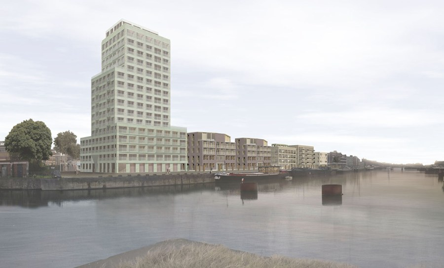 Dit beeld geeft een idee van de visuele impact van het project op het Handelsdok, vanaf de nieuwe brug.