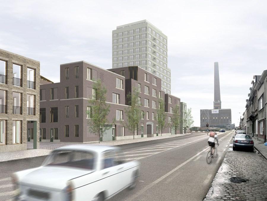 Dit beeld geeft een idee van de visuele impact van het project op Dok Noord, thv. het Stapelplein.