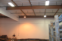 Warehouse with overhead fluorescent lights