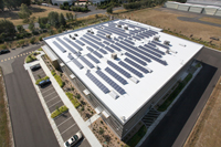 Solar array installation on Livermore company roof