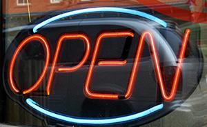 Open sign installation in Manteca CA