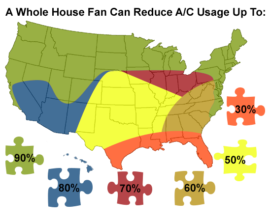 map of the US showing whole house fan effectiveness. Note the effectiveness of whole house fan installation cost in the Bay Area.