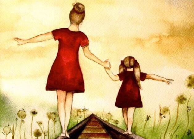 madre e figlia camminano