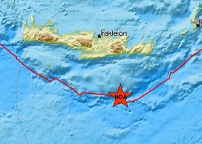 Ασθενής σεισμός ανοιχτά της Κρήτης