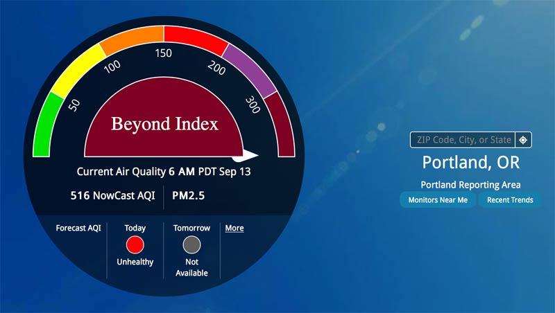Portland Oregon Air Index - Sept. 13, 2020 - Hazardous