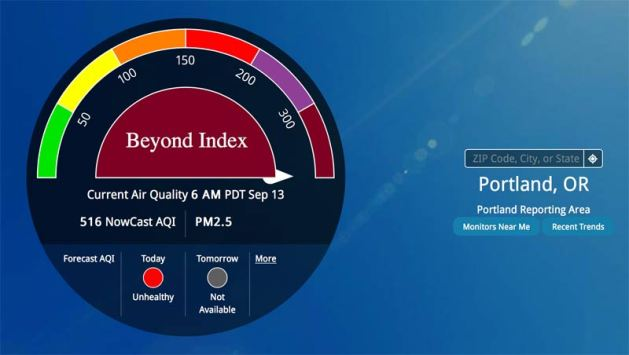 Portland Oregon Air Index - Sept. 13, 2020 - Hazardous