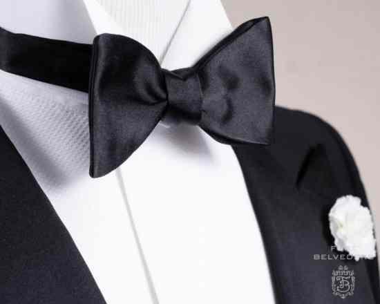 Black Single End Bow Tie in Silk Moire Butterfly Self Tie - Fort Belvedere