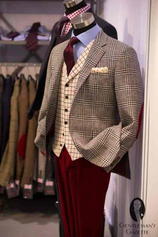 Chester by Chester Barrie - Plaid sportscoat, tattersall vest & red pants