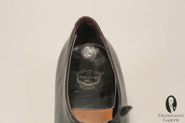Florsheim label inside Truman's evening shoes